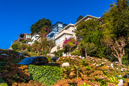 SAN FRANCISCO, USA - OCT 5, 2015: Famous wavy Lombard street on Russian hill in San Francisco. SF is the cultural, commercial, and financial center of Northern California Editorial