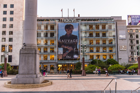 SAN FRANCISCO, USA - OCT 5, 2015: Johnny Deppe on Sauvage Dior promo of San Francisco. San Francisco is the cultural, commercial, and financial center of Northern California
