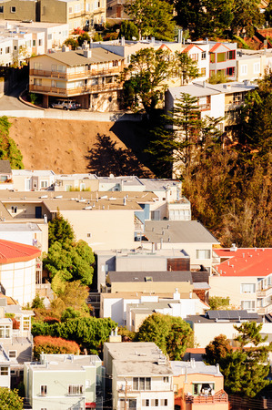 SAN FRANCISCO, USA - OCT 5, 2015: Aerial view of San Francisco from the Twin Peaks observation point. San Francisco is the cultural, commercial, and financial center of Northern California Editorial