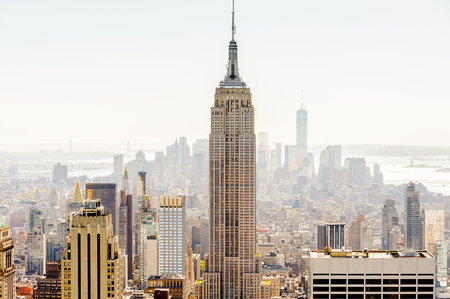NEW YORK, USA - OCT 6, 2015: Empire State Building from the Rockfeller Center (Top of the Rock). One of the popular observation points of New York Editorial
