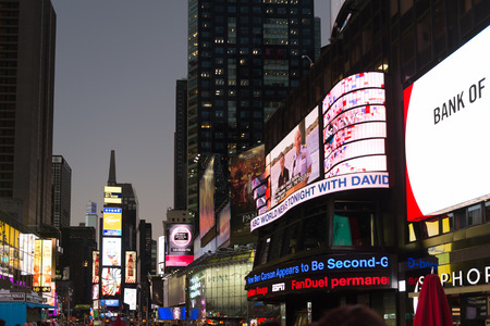 NEW YORK, USA - OCT 8, 2015: Times Square, a major commercial neighborhood in Midtown Manhattan, New York City Editorial