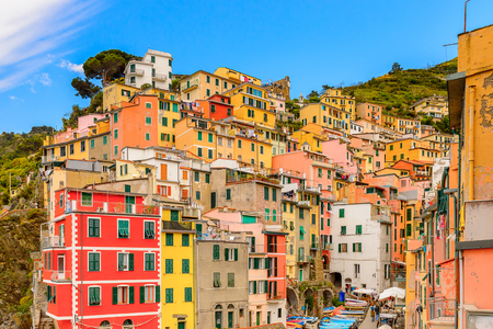 RIOMAGGIORE, ITALY - MAY 5, 2016: Beautiful view of Riomaggiore (Rimazuu), a village in province of La Spezia, Liguria, Italy. Cinque Terre, UNESCO World Heritage Site Editorial