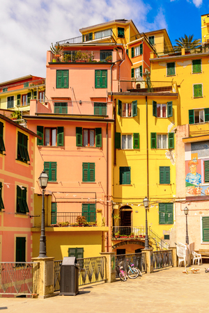 RIOMAGGIORE, ITALY - MAY 5, 2016: Central square in Riomaggiore (Rimazuu), a village in province of La Spezia, Liguria, Italy. Cinque Terre, UNESCO World Heritage Site