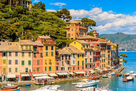 PORTOFINO, ITALY - MAY 4, 2016: Beautiful view of Portofino, an Italian fishing village, Genoa province, Italy. A vacation resort with celebrity and artistic visitors.