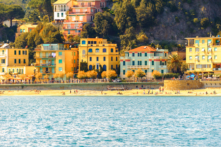 MONTEROSSO, ITALY - MAY 5, 2016: Monterosso al Mare, a small town in province of La Spezia, Liguria, Italy. It's one of the lands of Cinque Terre, UNESCO World Heritage Site