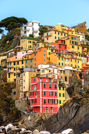 RIOMAGGIORE, ITALY - MAY 5, 2016: Riomaggiore, a village in province of La Spezia, Liguria, Italy. It's one of the lands of Cinque Terre, UNESCO World Heritage Site