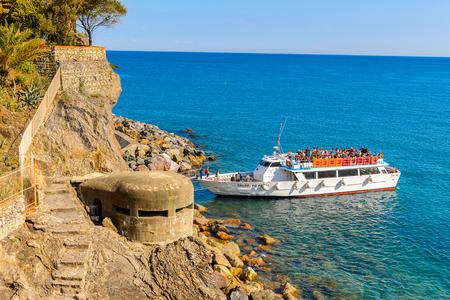 MONTEROSSO, ITALY - MAY 5, 2016: Touristic boat of Monterosso al Mare, a small town in province of La Spezia, Liguria, Italy. It's one of the lands of Cinque Terre, UNESCO World Heritage Site