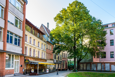 RIGA, LATVIA - SEP 7, 2014: Architecture of the Old Town of Riga. Riga's historical centre is a UNESCO World Heritage Site Éditoriale