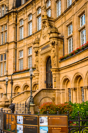 LUXEMBOURG, LUXEMBOURG - JUN 9, 2015: State Saving Bank Building, Luxembourg City. Luxembourg city is the capital of the Grand Duchy of Luxembourg