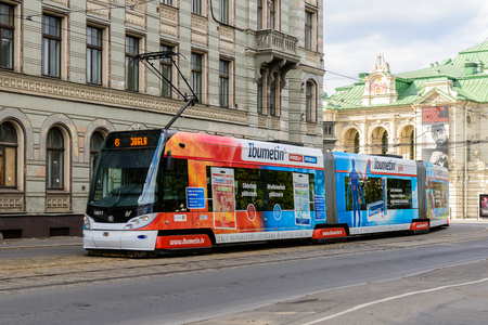 RIGA, LATVIA - SEP 7, 2014: Tramway in Riga, Latvia. Riga is the capital and largest city of Latvia Éditoriale