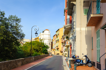 MONACO - JUN 24, 2014: Beautiful architecture of Monaco near the Prince's Palace of Monaco. Principality of Monaco is the second smallest and the most densely populated country in the world