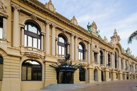 MONTE CARLO, MONACO - JUN 24, 2014:  One of the sides of the Monte Carlo Casino. Monte Carlo Casino  includes a casino, the Grand Theatre de Monte Carlo. Its the main sight of Monte Carlo