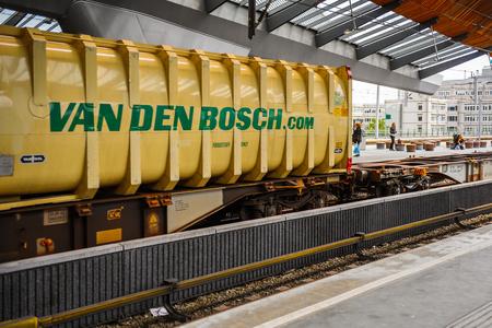 AMSTERDAM, NETHERLANDS - JUN 1, 2015: Train witn Van Den Bosch logo at Amsterdam Bijlmer ArenA metro station. It's a  railway station in the Bijlmermeer neighbourhood of the Amsterdam Zuidoost stadsdeel