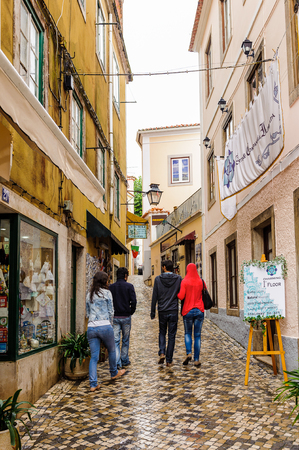 SINTRA, PORTUGAL - JUNE 22, 2014: Touristic street in Sintra, Portugal. One of the most popular touristic destionations in Portugal