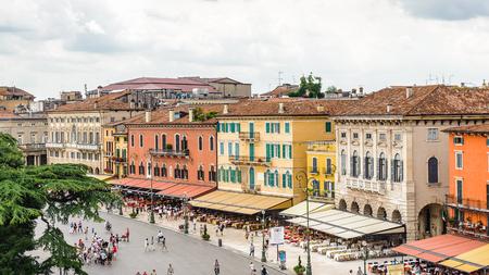 VERONA, ITALY - JUN 26, 2014: Piazza Bra, the largest square in Verona, Italy. City of Verona is a UNESCO World Heritage site
