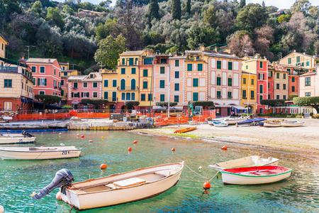 PORTOFINO, ITALY - MAR 7, 2015: Colorful houses of the Piazzetta square of Portofino. Portofino is a resort famous for its picturesque harbour