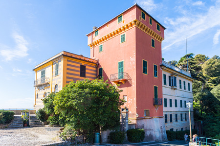 PORTOFINO, ITALY - MAR 7, 2015: Aerial view of  Portofino, Italy. Portofino is a resort famous for its picturesque harbour