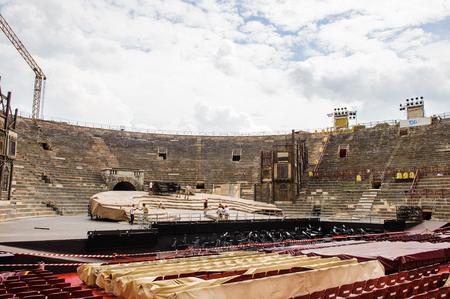 VERONA, ITALY - JUN 26, 2014: Verona Arena (Arena di Verona), a Roman amphitheatre in Piazza Bra in Verona, Italy. It was built in AD 30 Editorial