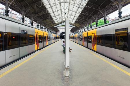 PORTO, PORTUGAL - JUN 21, 2014:  Trains of the Campanha railway station, the main railway station in Porto, opened in 1877 Editorial