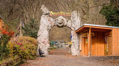 BRATISLAVA, SLOVAKIA - OCT 18, 2015: Entrance in to the DinoPark in Bratislava, Slovakia. One f the popular attections in Bratislava, Slovakia.