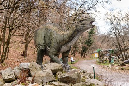 BRATISLAVA, SLOVAKIA - OCT 18, 2015: Iguanodon in  DinoPark in Bratislava, Slovakia. One f the popular attections in Bratislava, Slovakia. Editorial