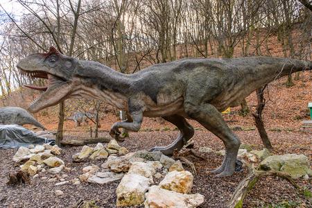 BRATISLAVA, SLOVAKIA - OCT 18, 2015: Allosaurus in DinoPark in Bratislava, Slovakia. Allosaurus is a genus of large theropod dinosaur