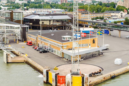 TURKU, FINLAND - JULY 22, 2013: Panorama of the Port of Turku, Finland, July 22, 2013. Port of Turku has a status of major Baltic Sea trading post