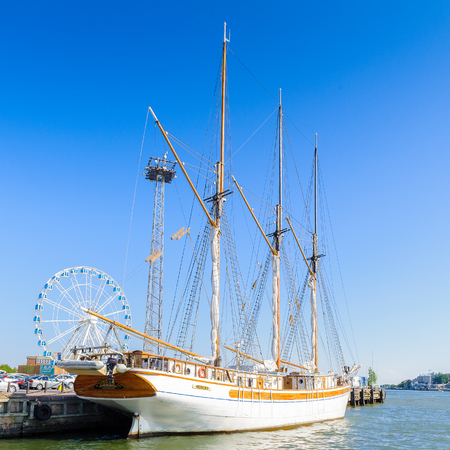 HELSINKI, FINLAND - JULY 26, 2014: Touristic boat te South Port of Helsinki, Finland. Helsinki was chosen to be the World Design Capital for 2012