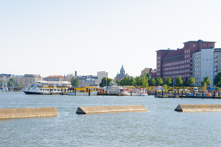 HELSINKI, FINLAND - JULY 26, 2014: Waterscape in  Helsinki, Finland. Helsinki was chosen to be the World Design Capital for 2012