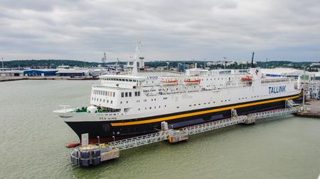 TURKU, FINLAND - JULY 22, 2013: Cruiser liner of the Tallink company in the  Port of Turku, Finland, July 22, 2013. Port of Turku has a status of major Baltic Sea trading post