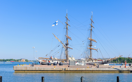 HELSINKI, FINLAND - JULY 26, 2014: Boat in the Port in Helsinki, Finland. Helsinki was chosen to be the World Design Capital for 2012