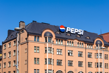 HELSINKI, FINLAND - JULY 26, 2014: Building with a Pepsi sign in  Helsinki, Finland. Helsinki was chosen to be the World Design Capital for 2012 Editorial