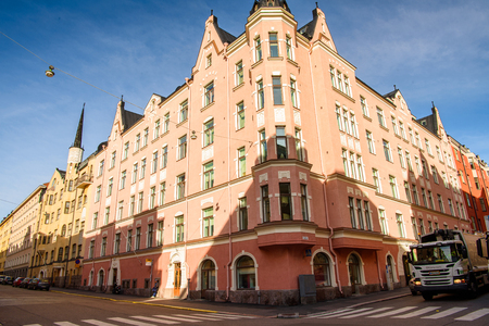 HELSINKI, FINLAND - SEP 12, 2016: Architecture of  Helsinki, Finland. Helsinki was chosen to be the World Design Capital for 2012
