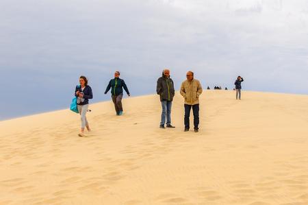 LA TESTE-DE-BUCH, FRANCE -OCT 12, 2016: Dune of Pilat (Grande Dune du Pilat), the tallest sand dune in Europe.