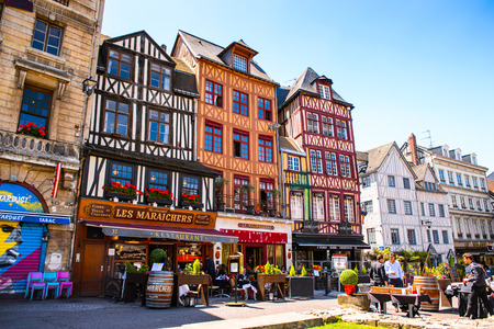 ROUEN, FRANCE - JUN 7, 2015:  Architecture of Joans Darc square in Rouen, the capital of the region of Upper Normandy and the historic capital city of Normandy