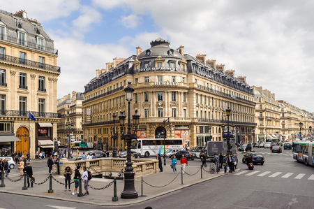 PARIS, FRANCE - JUN 17, 2014: Beautiful architecture of the centre of Paris, France. Paris is one of the most popular touristic destinations in the world