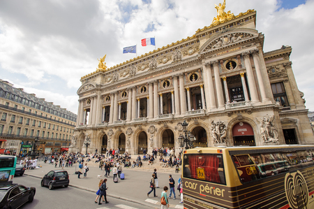PARIS, FRANCE - JUN 17, 2014: Opera Garnier, an opera house in Paris, France. It has 1979 seats and it was built by the architect Charles Garnier