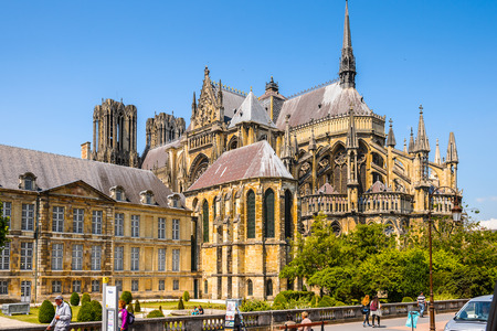 REIMS, FRANCE - JUN 9, 2015: Cathedral of Notre-Dame of Rheims,  Champagne-Ardenne, France. Its the seat of the Archdiocese of Reims, where the kings of France were crowned Editorial