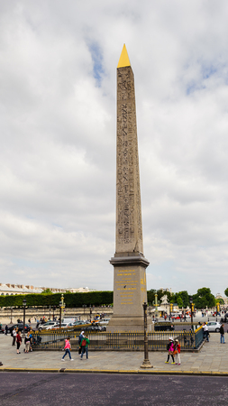 PARIS, FRANCE - JUN 17, 2014: Obelisk (Obelisque) of the Place de la Concorde. It's the largest square in Paris, France. It measures 8.64 hectares (21.3 acres) in area