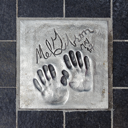 CANNES, FRANCE - JUN 25, 2014: Mel Gibson hand mark on the alley of fame in Cannes, Cote d'Azur, France