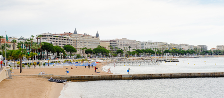CANNES, FRANCE - JUNE 25, 2014: Beach of  Cote d'Azur, Cannes. Cannes hosts the annual Cannes Film festival from 1949