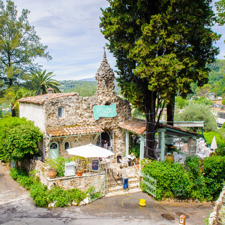 SAINT-PAUL-DE-VENCE, FRANCE - JUN 25, 2014: Old medieval street and architecture of Saint Paul de Vence, one of the oldest towns of the Frence Riviera. Town of painters and galleries