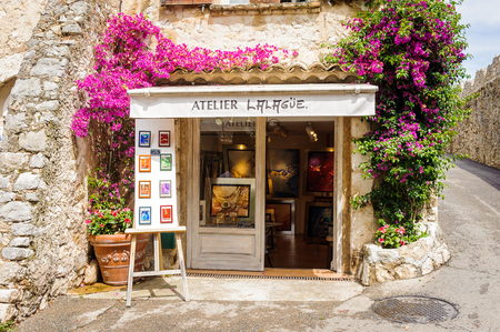 SAINT-PAUL-DE-VENCE, FRANCE - JUN 25, 2014: Atelier Lalague of Saint Paul de Vence, one of the oldest towns of the Frence Riviera. Town of painters and galleries