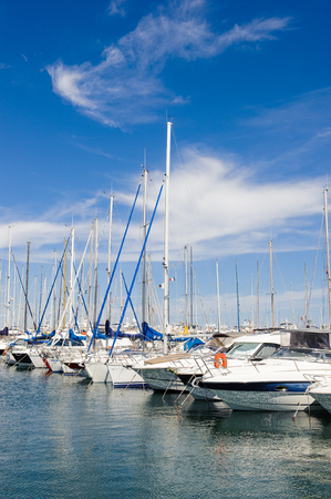 ANTIBES, FRANCE - JUN 25, 2014: Boats of the Port of Antibes, Cote d'Azur, France. Antibes was founded as a 5th-century BC Greek colony and was called Antipolis