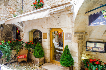 SAINT-PAUL-DE-VENCE, FRANCE - JUN 25, 2014: Five stars restaurant of Saint Paul de Vence, one of the oldest towns of the Frence Riviera. Town of painters and galleries