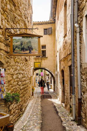 SAINT-PAUL-DE-VENCE, FRANCE - JUN 25, 2014: Old architecture and street of Saint Paul de Vence, one of the oldest towns of the Frence Riviera. Town of painters and galleries