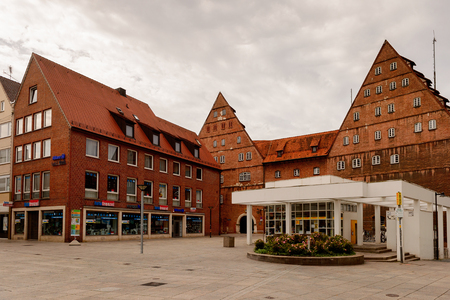 ULM, GERMANY - AUGUST 6, 2017: Architecture of Ulm, Germany, a city in the federal state of Baden-Wurttemberg, on the River Danube