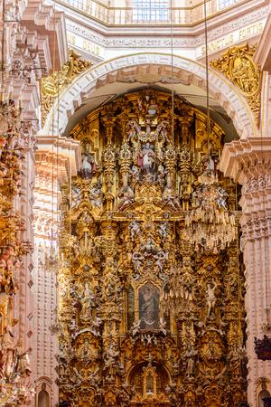 TAXCO, MEXICO - OCT 28, 2016: Interior of the Church of Santa Prisca, Taxco de Alarcón,  Guerrero, Mexico. Built between 1751 and 1758