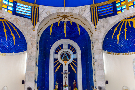 ACAPULCO, MEXICO - OCT 30, 2016: Interior of the Archdiocese of Acapulco, a Roman Catholic Archdicese, Guerrero, Mexico. It was established on the 18 March 1958