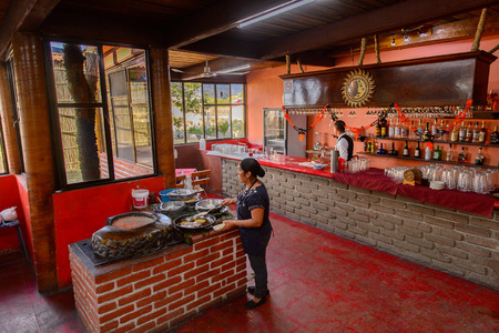 OAXACA, MEXICO - NOV 1, 2016: Interior of the Restaurant La Choza del Chef in Oaxaca, the place with national Mexican food Editorial